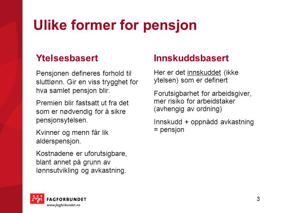 Ulike former for pensjon