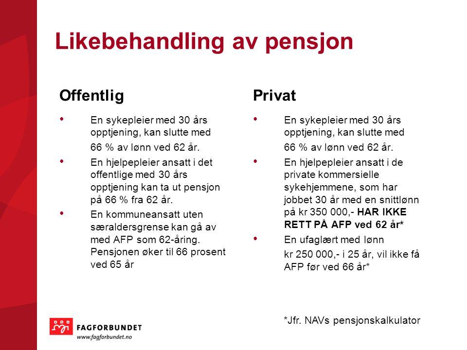 Likebehandling av pensjon