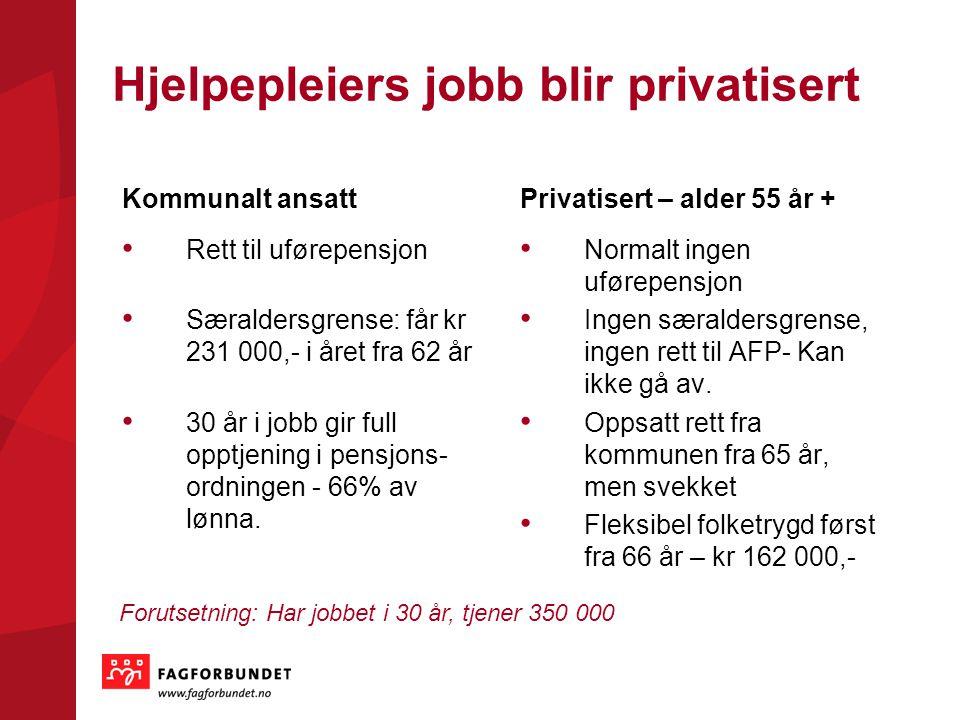 Hjelpepleiers jobb blir privatisert