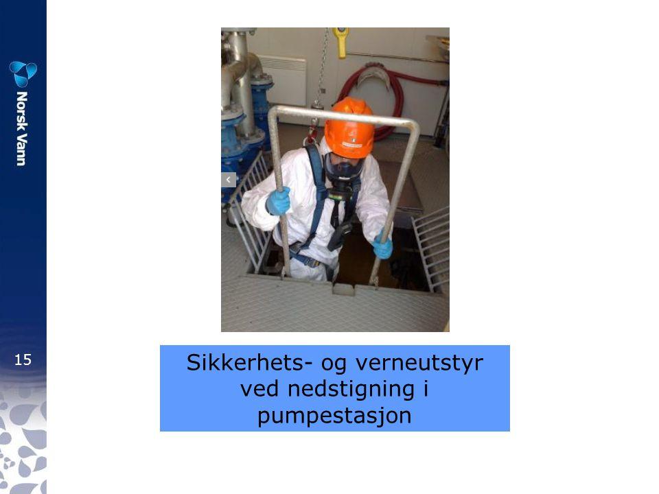 Sikkerhets- og verneutstyr ved nedstigning i pumpestasjon