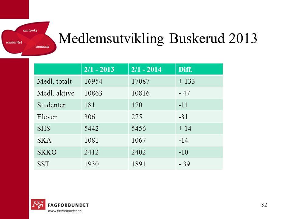 Medlemsutvikling Buskerud 2013