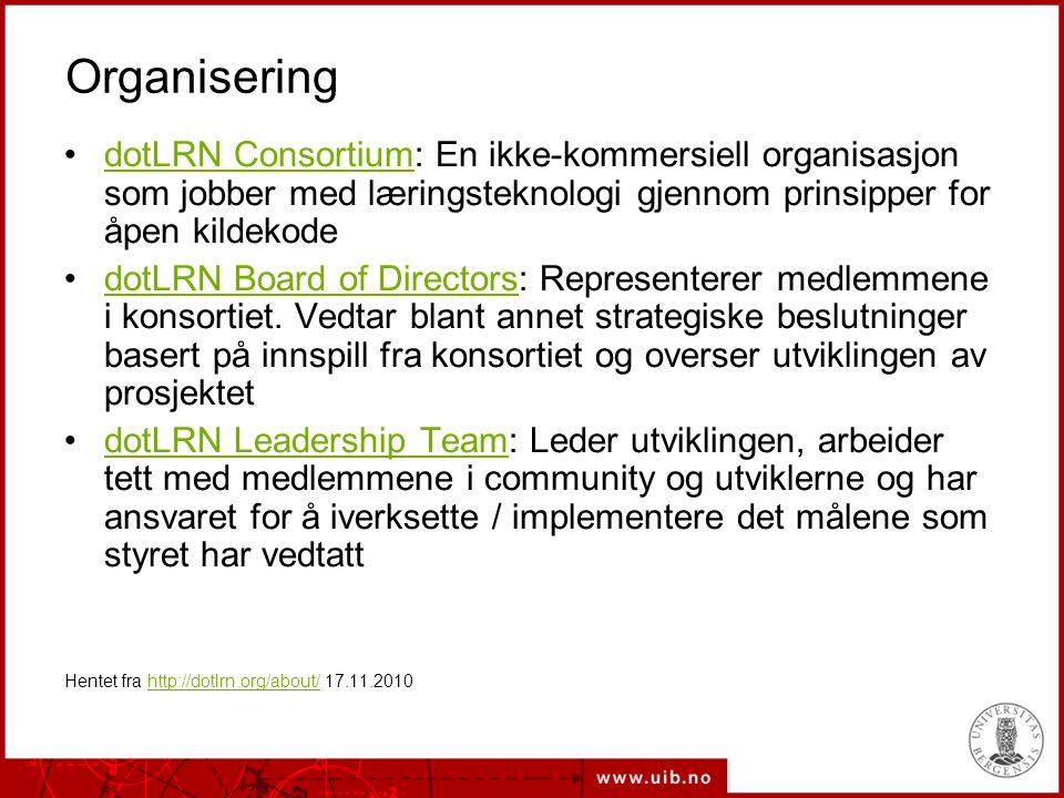Organisering dotLRN Consortium: En ikke-kommersiell organisasjon som jobber med læringsteknologi gjennom prinsipper for åpen kildekode.