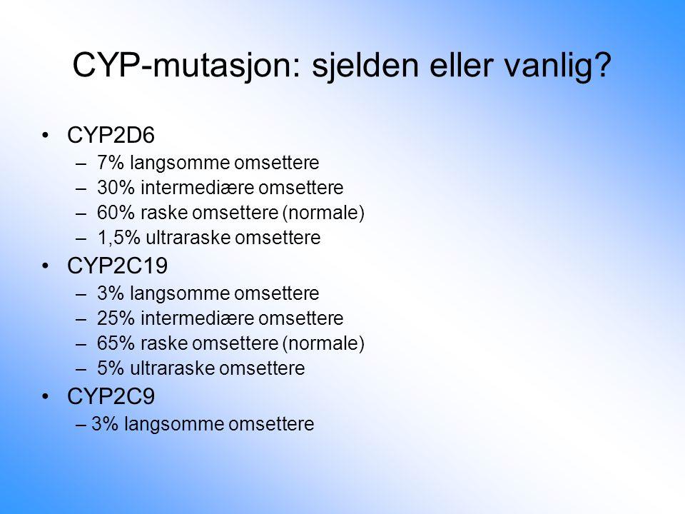 CYP-mutasjon: sjelden eller vanlig