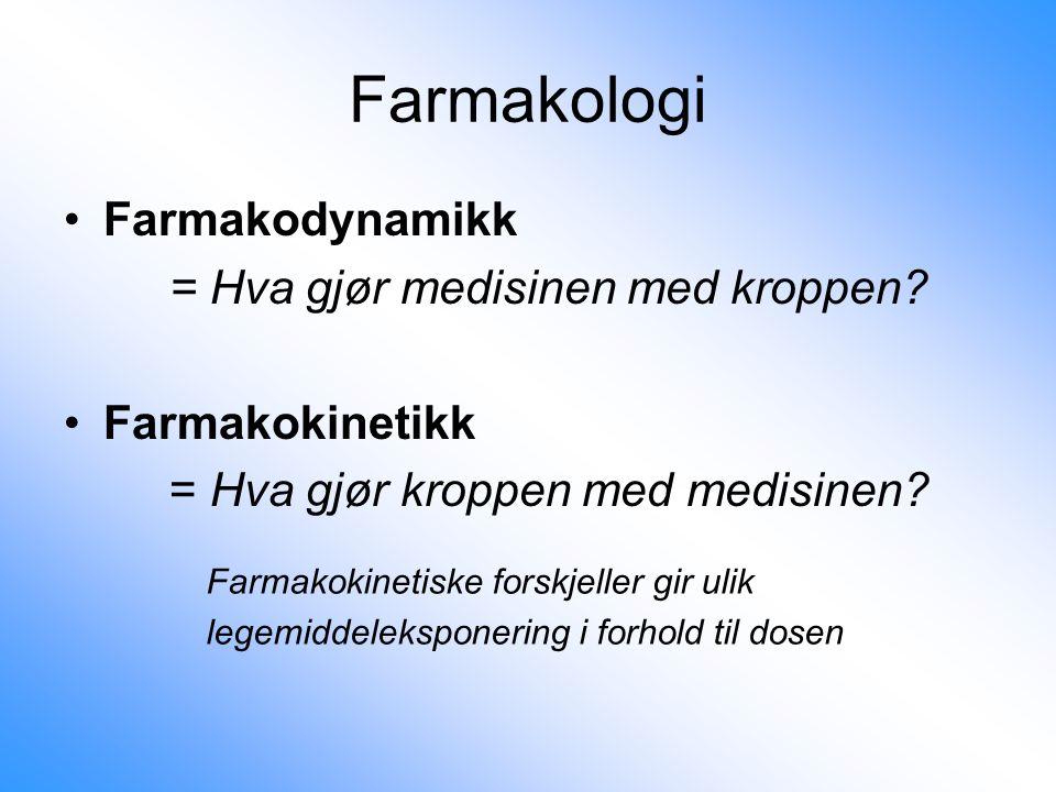 Farmakologi Farmakodynamikk = Hva gjør medisinen med kroppen
