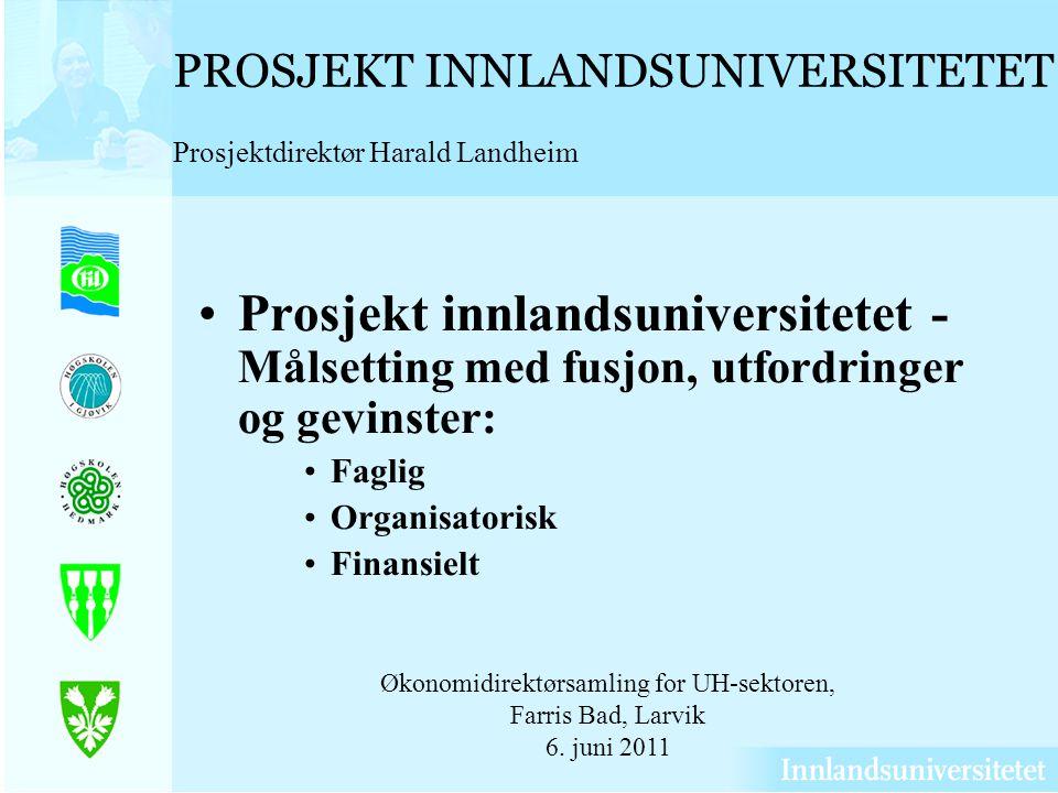 PROSJEKT INNLANDSUNIVERSITETET Prosjektdirektør Harald Landheim