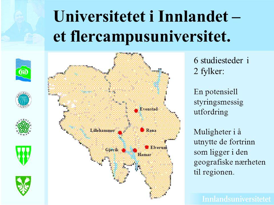 Universitetet i Innlandet – et flercampusuniversitet.