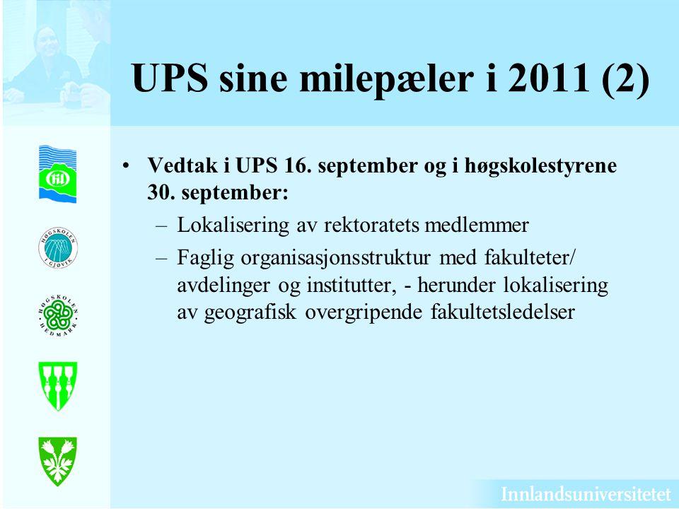 UPS sine milepæler i 2011 (2) Vedtak i UPS 16. september og i høgskolestyrene 30. september: Lokalisering av rektoratets medlemmer.