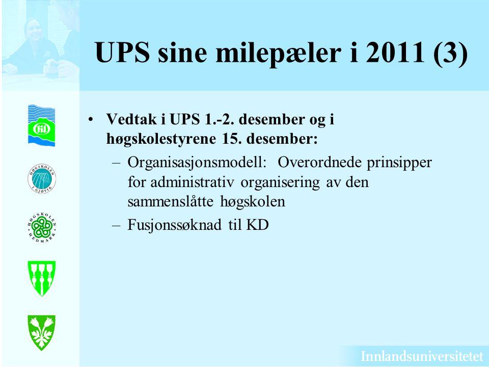 UPS sine milepæler i 2011 (3) Vedtak i UPS 1.-2. desember og i høgskolestyrene 15. desember: