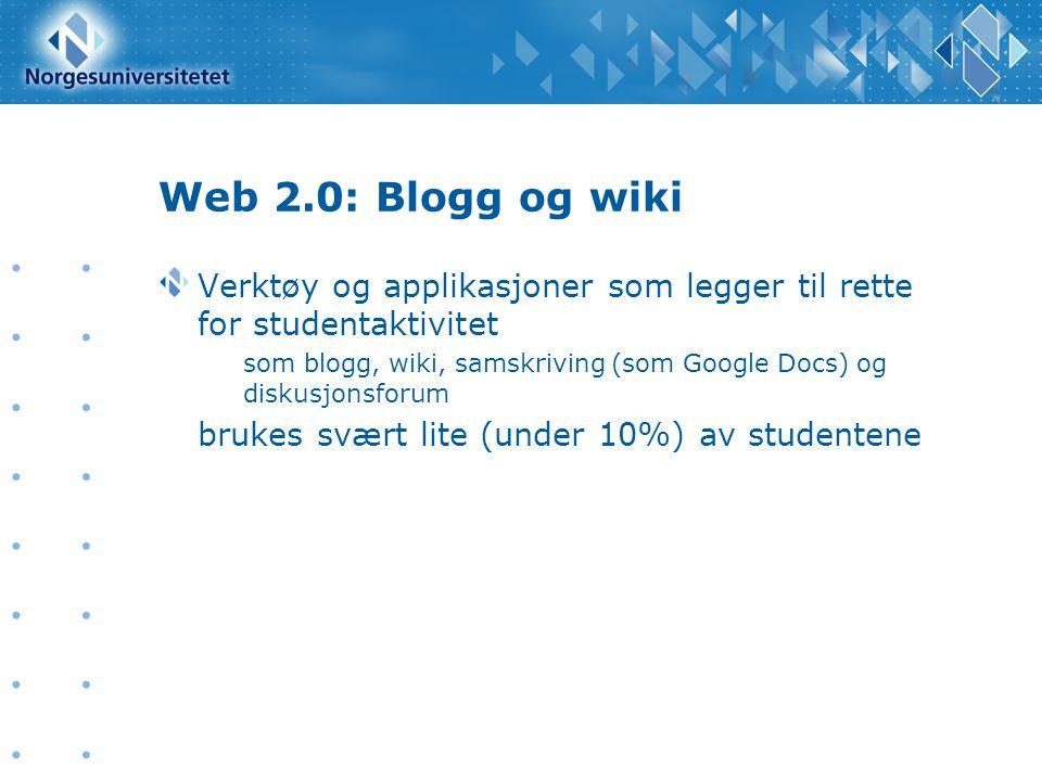 Web 2.0: Blogg og wiki Verktøy og applikasjoner som legger til rette for studentaktivitet.