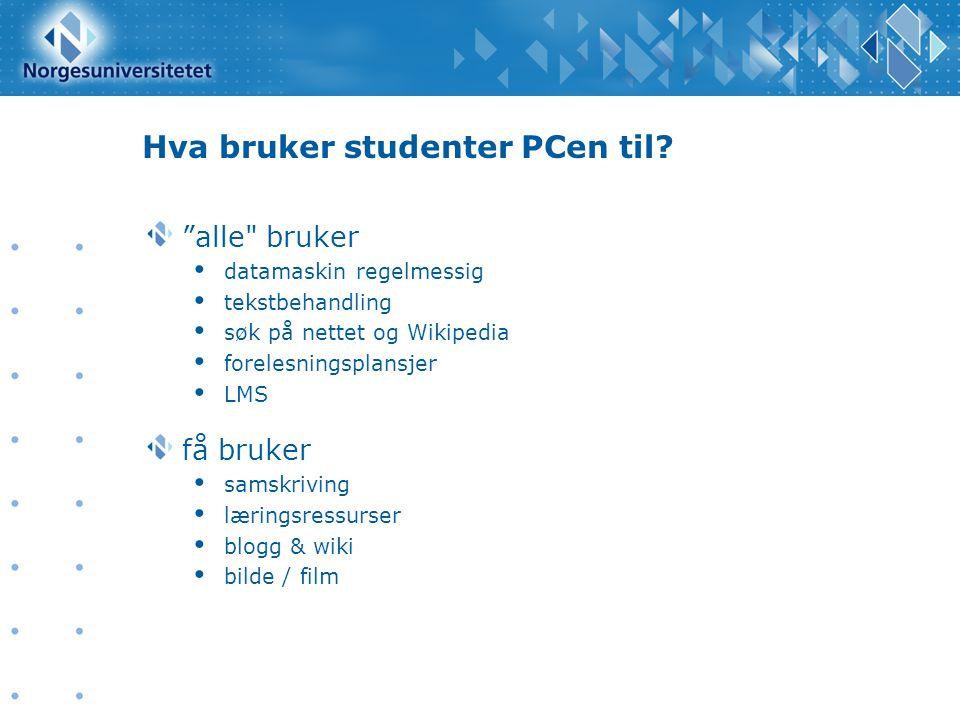 Hva bruker studenter PCen til