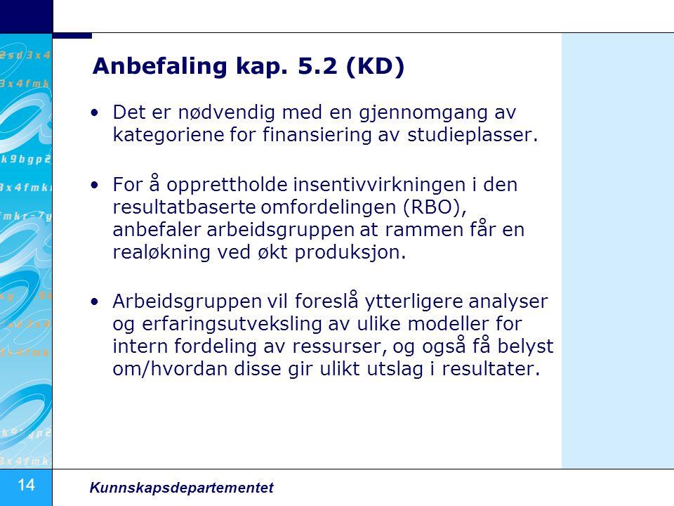 Anbefaling kap. 5.2 (KD) Det er nødvendig med en gjennomgang av kategoriene for finansiering av studieplasser.