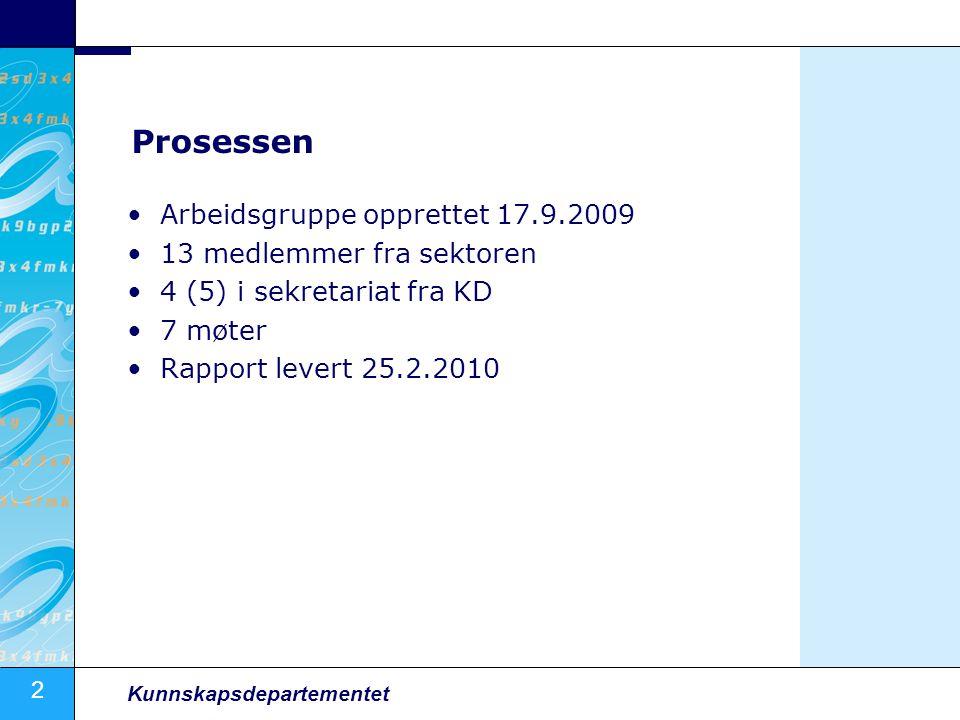 Prosessen Arbeidsgruppe opprettet 17.9.2009 13 medlemmer fra sektoren