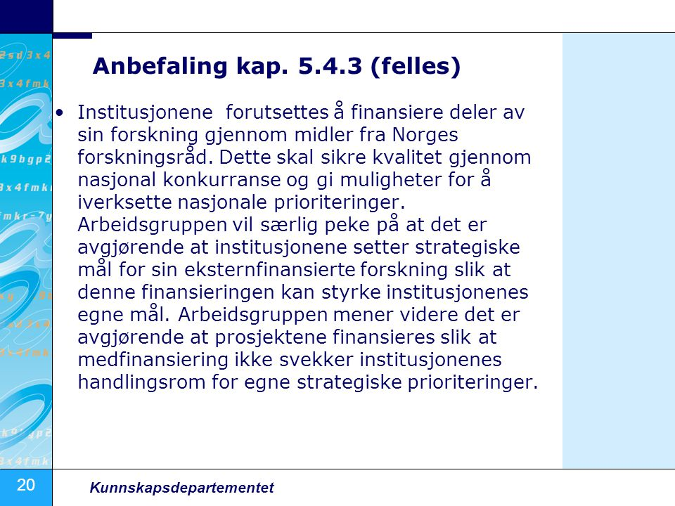 Anbefaling kap. 5.4.3 (felles)