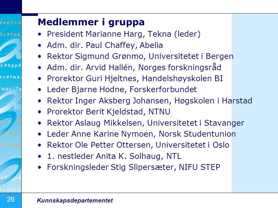 Medlemmer i gruppa President Marianne Harg, Tekna (leder)