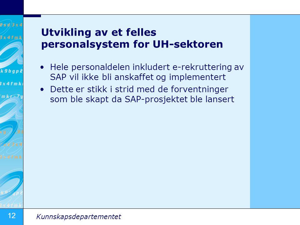 Utvikling av et felles personalsystem for UH-sektoren