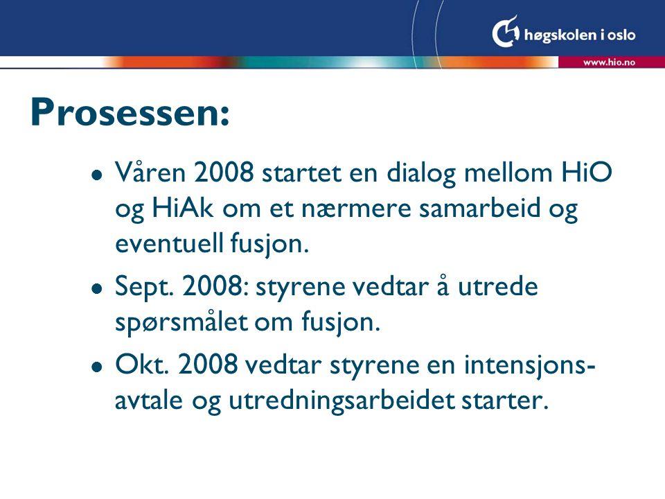 Prosessen: Våren 2008 startet en dialog mellom HiO og HiAk om et nærmere samarbeid og eventuell fusjon.