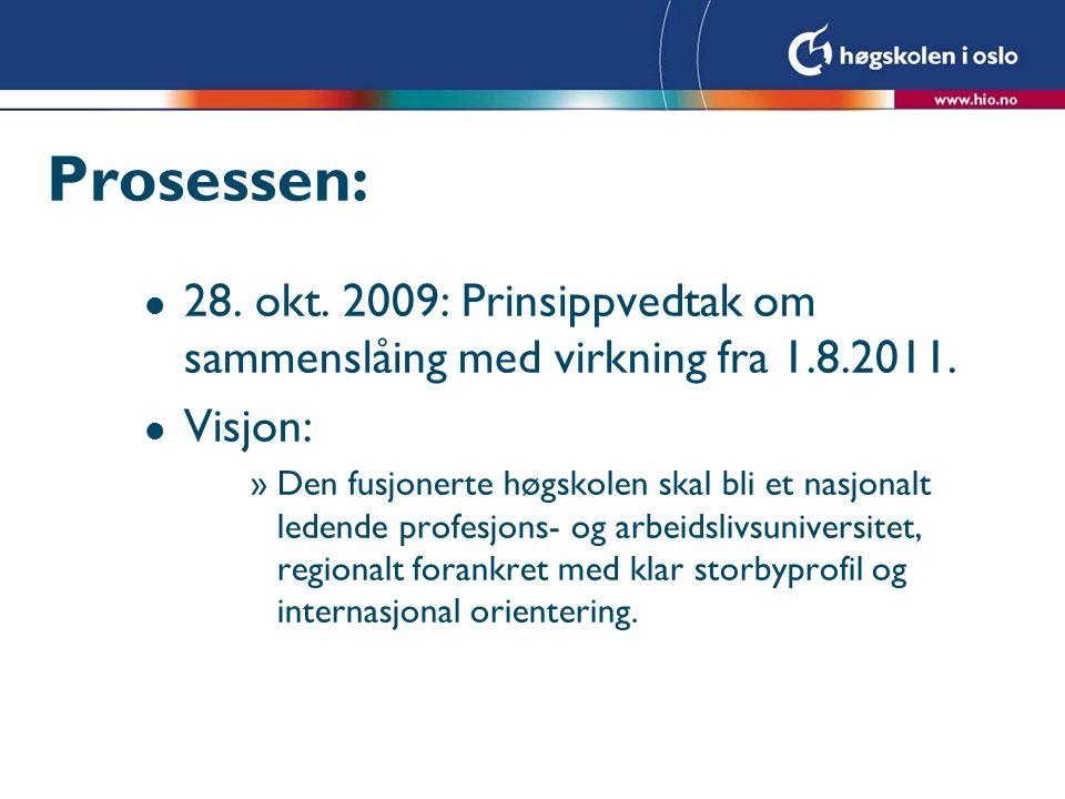 Prosessen: 28. okt. 2009: Prinsippvedtak om sammenslåing med virkning fra 1.8.2011. Visjon: