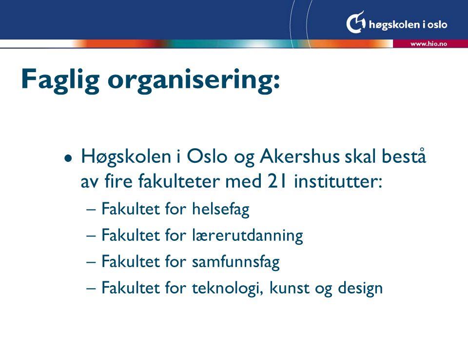 Faglig organisering: Høgskolen i Oslo og Akershus skal bestå av fire fakulteter med 21 institutter: