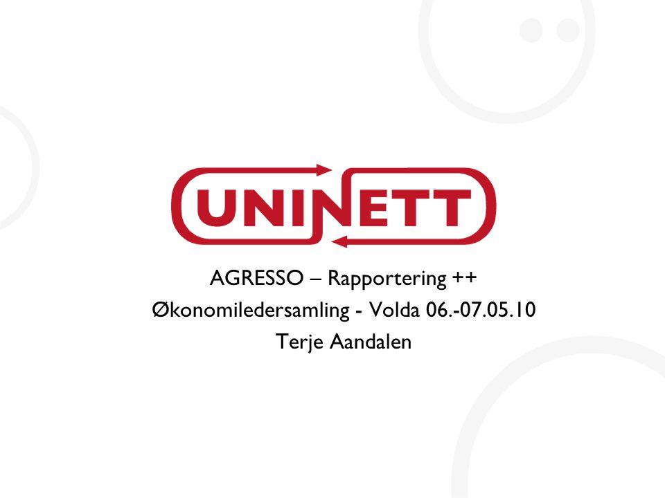 AGRESSO – Rapportering ++ Økonomiledersamling - Volda 06.-07.05.10