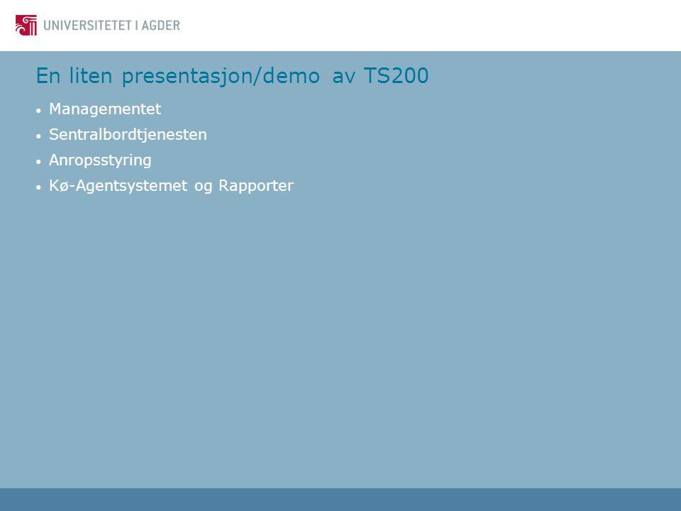 En liten presentasjon/demo av TS200