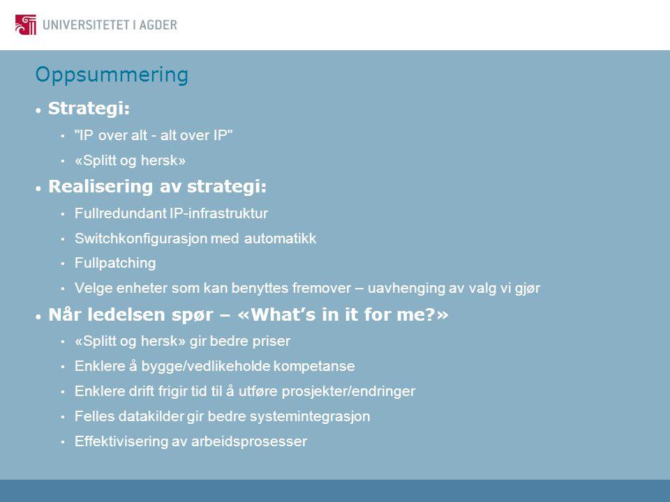 Oppsummering Strategi: Realisering av strategi: