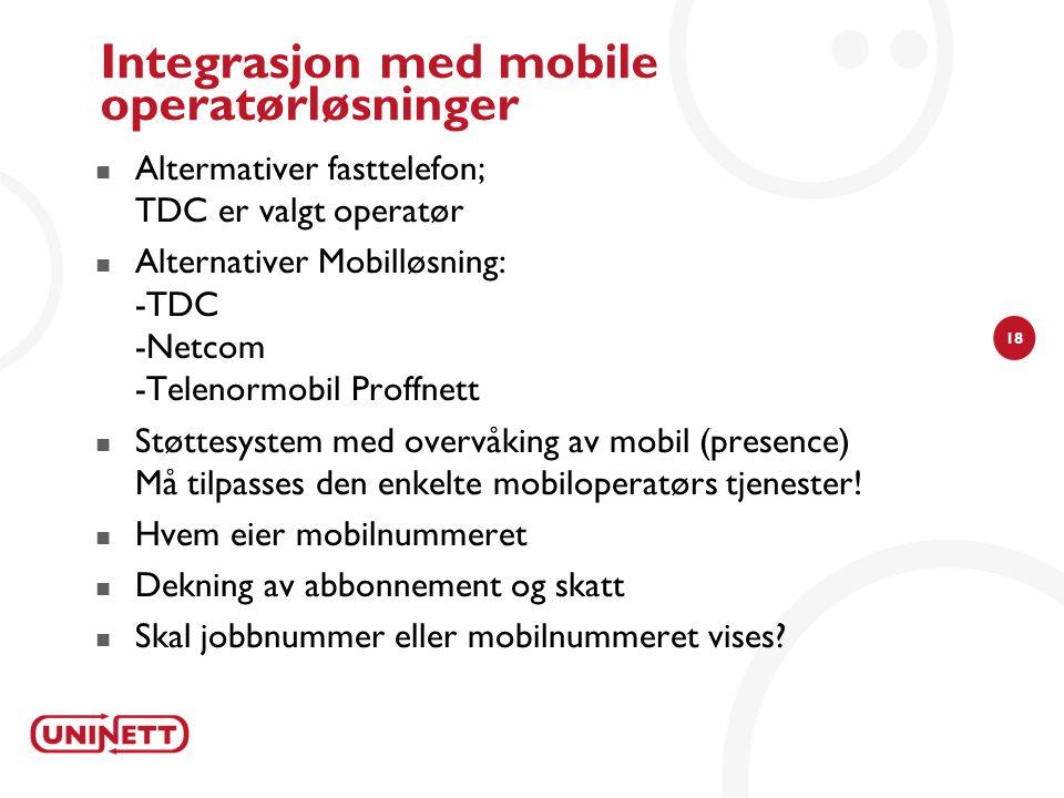 Integrasjon med mobile operatørløsninger