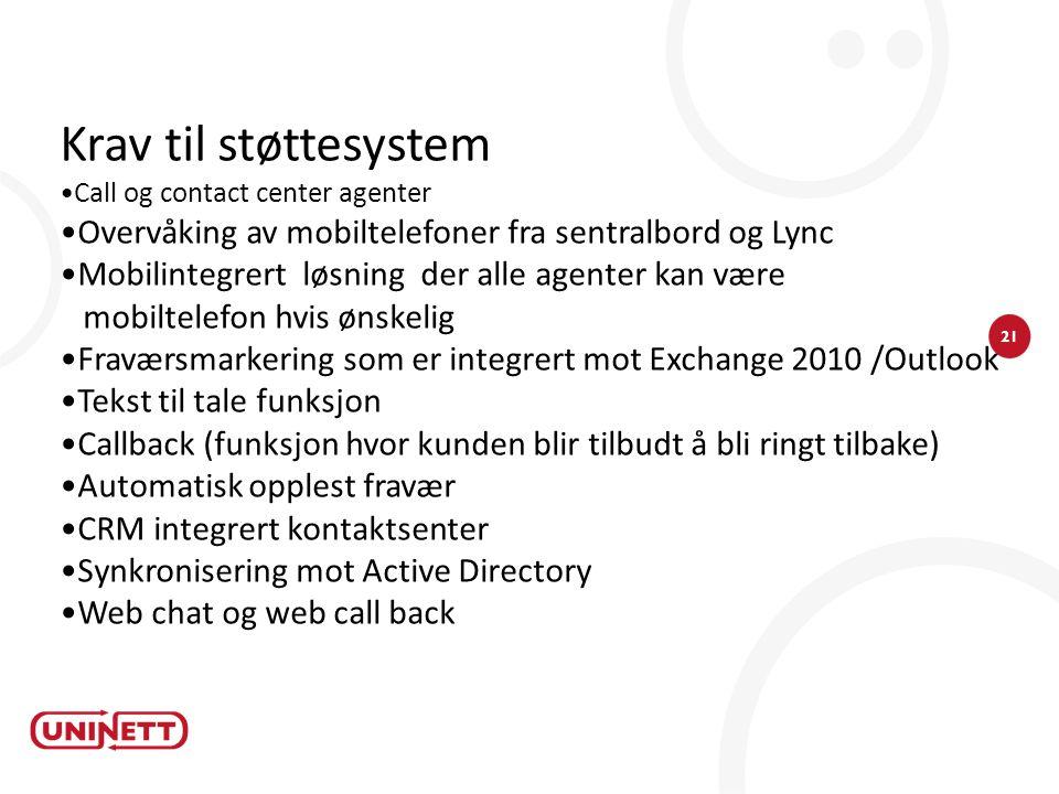 Krav til støttesystem Call og contact center agenter. Overvåking av mobiltelefoner fra sentralbord og Lync.