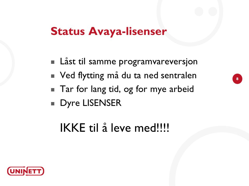 Status Avaya-lisenser