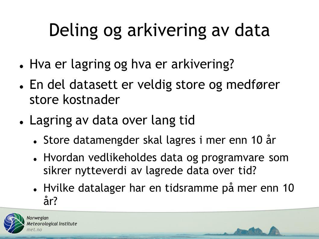 Deling og arkivering av data