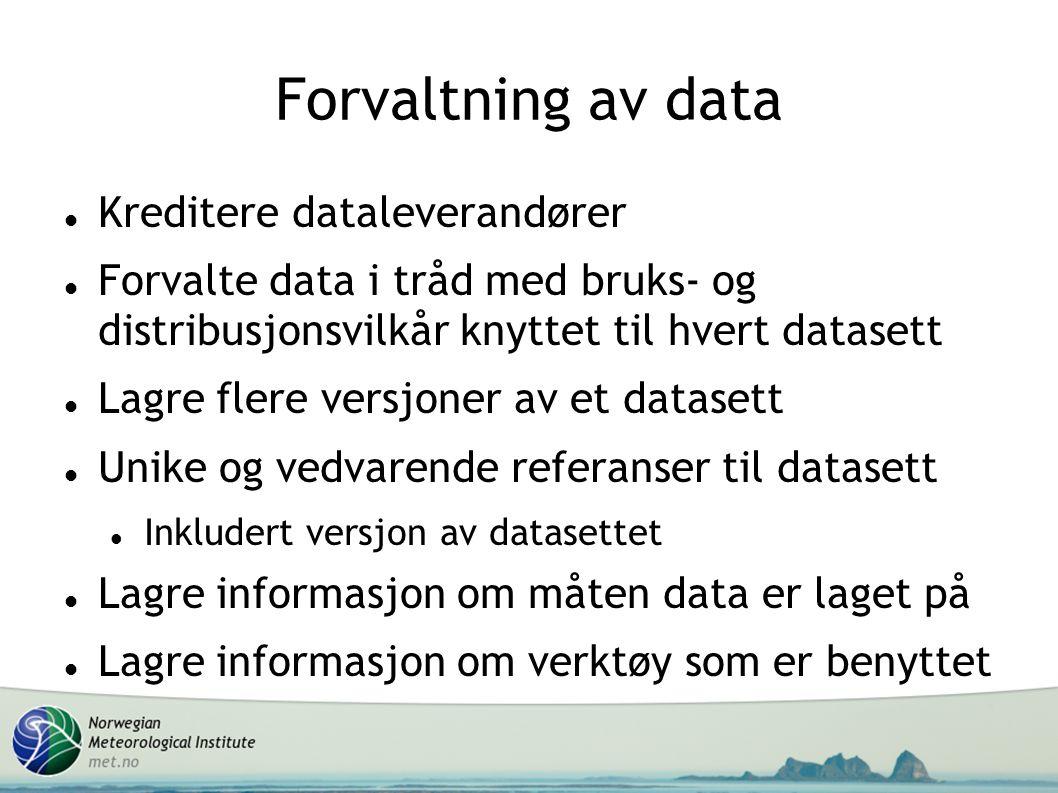 Forvaltning av data Kreditere dataleverandører