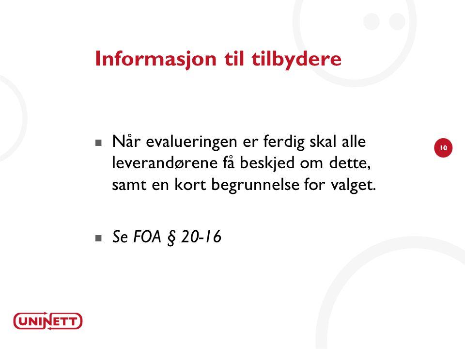 Informasjon til tilbydere
