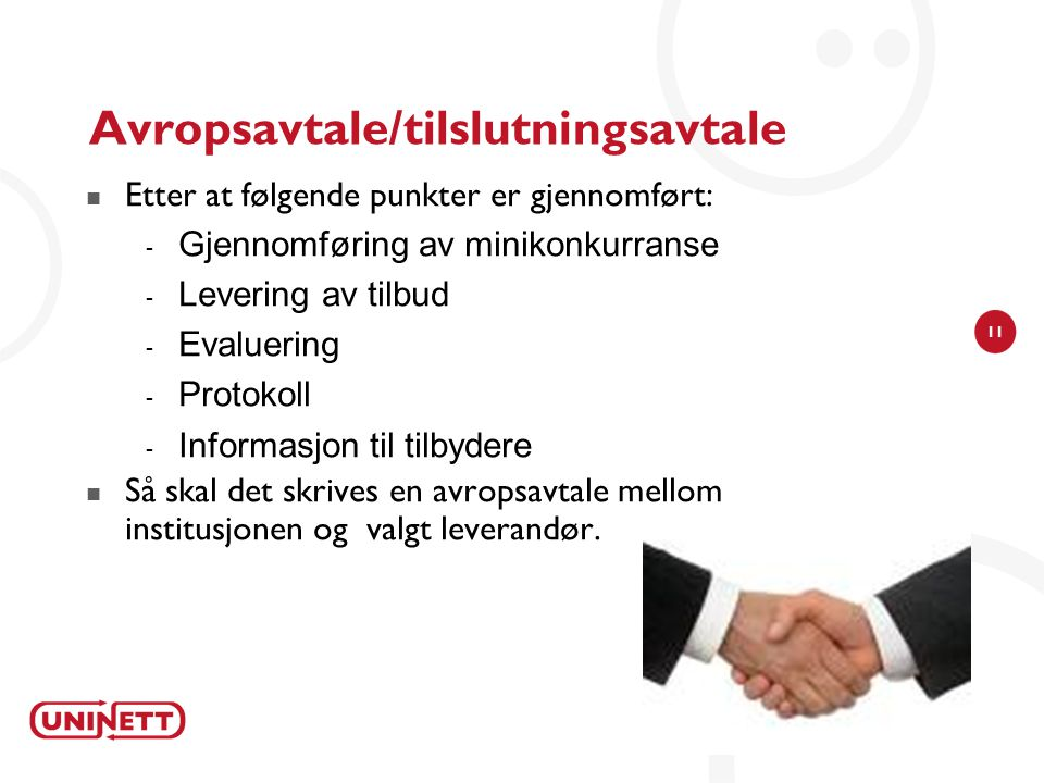 Avropsavtale/tilslutningsavtale