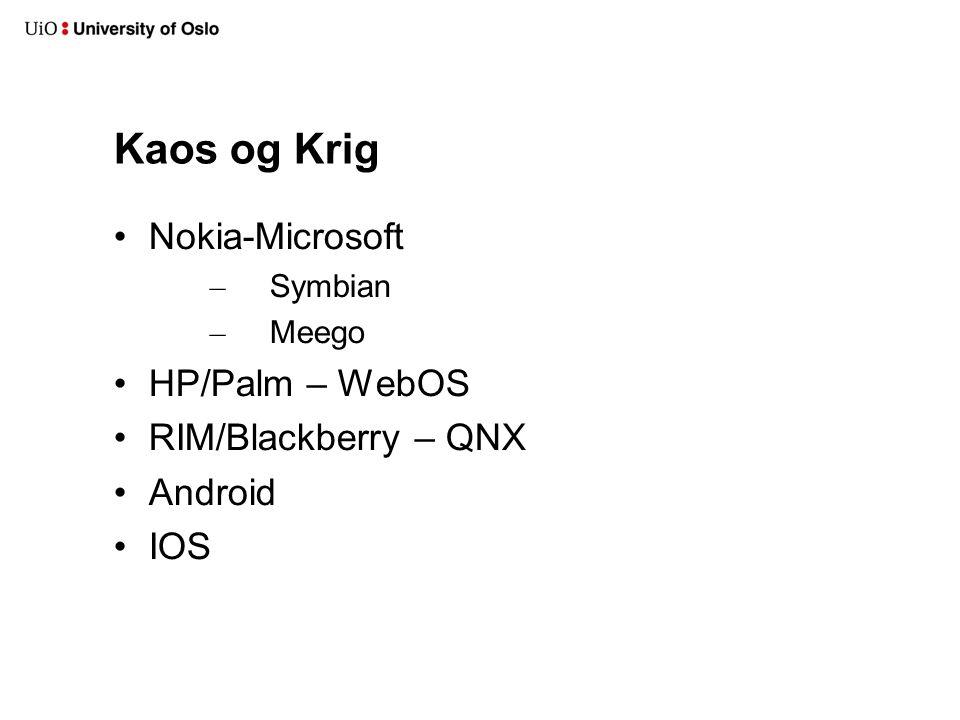 Kaos og Krig Nokia-Microsoft HP/Palm – WebOS RIM/Blackberry – QNX