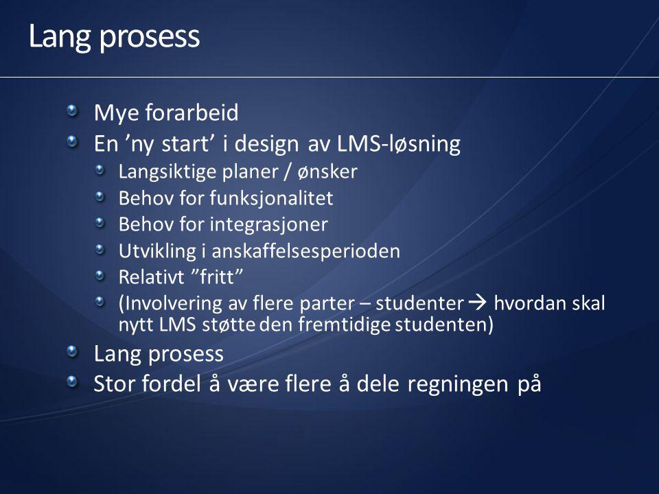 Lang prosess Mye forarbeid En 'ny start' i design av LMS-løsning