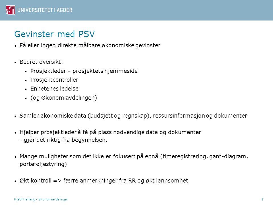 Gevinster med PSV Få eller ingen direkte målbare økonomiske gevinster