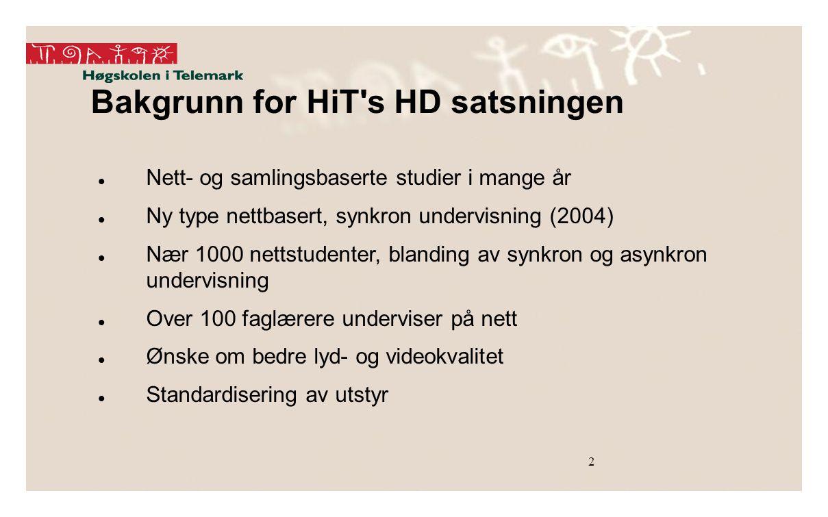 Bakgrunn for HiT s HD satsningen