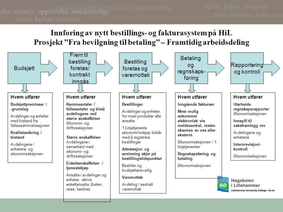 Innføring av nytt bestillings- og fakturasystem på HiL Prosjekt Fra bevilgning til betaling – Framtidig arbeidsdeling