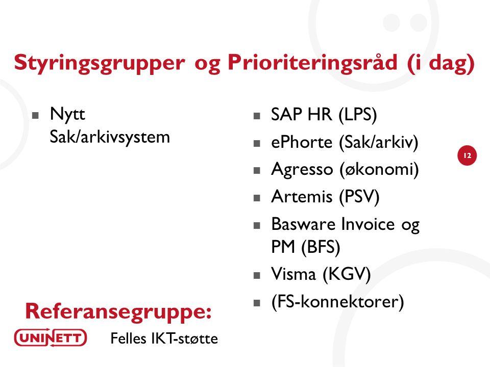 Styringsgrupper og Prioriteringsråd (i dag)