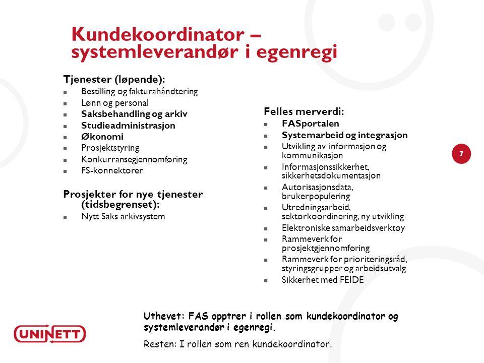 Kundekoordinator – systemleverandør i egenregi