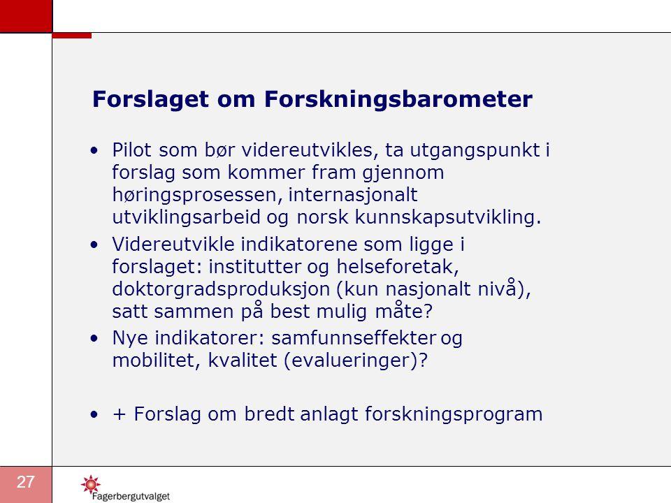 Forslaget om Forskningsbarometer