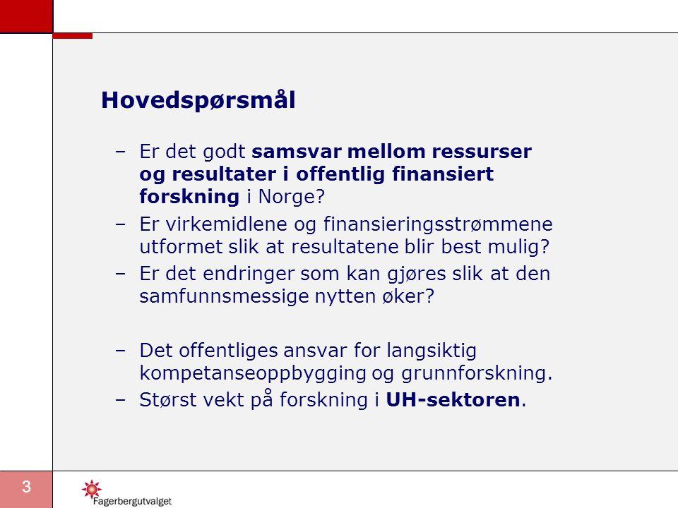 Hovedspørsmål Er det godt samsvar mellom ressurser og resultater i offentlig finansiert forskning i Norge