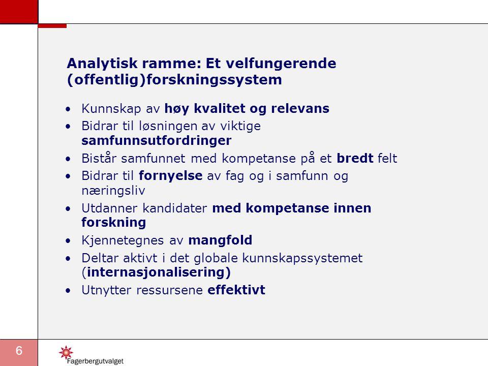 Analytisk ramme: Et velfungerende (offentlig)forskningssystem