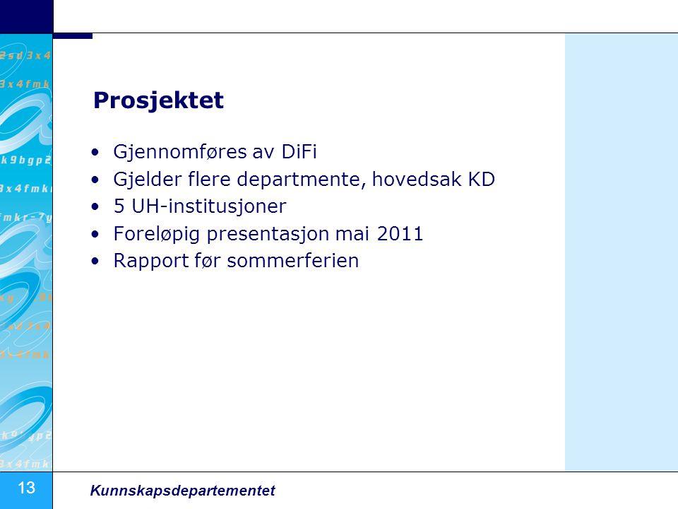 Prosjektet Gjennomføres av DiFi Gjelder flere departmente, hovedsak KD