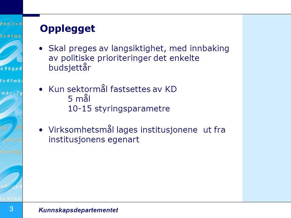 Opplegget Skal preges av langsiktighet, med innbaking av politiske prioriteringer det enkelte budsjettår.