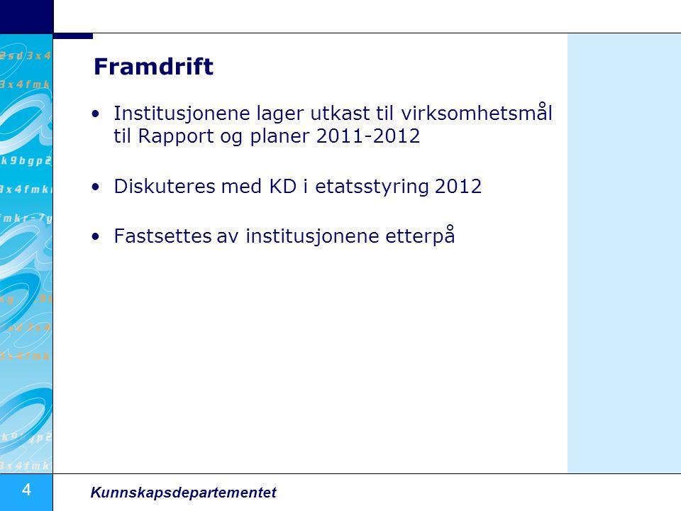 Framdrift Institusjonene lager utkast til virksomhetsmål til Rapport og planer 2011-2012. Diskuteres med KD i etatsstyring 2012.