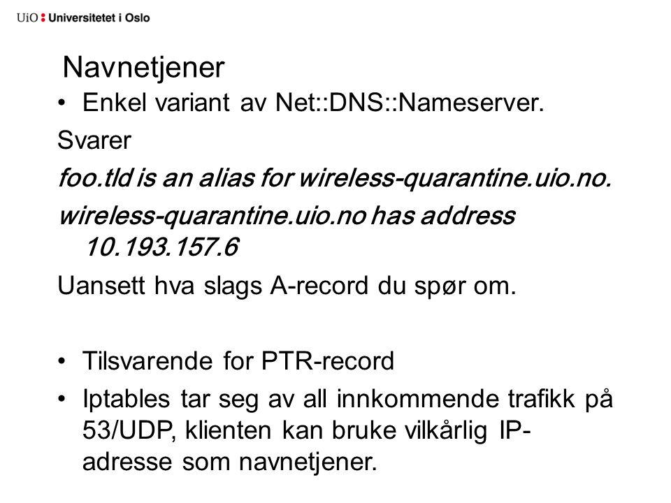 Navnetjener Enkel variant av Net::DNS::Nameserver. Svarer