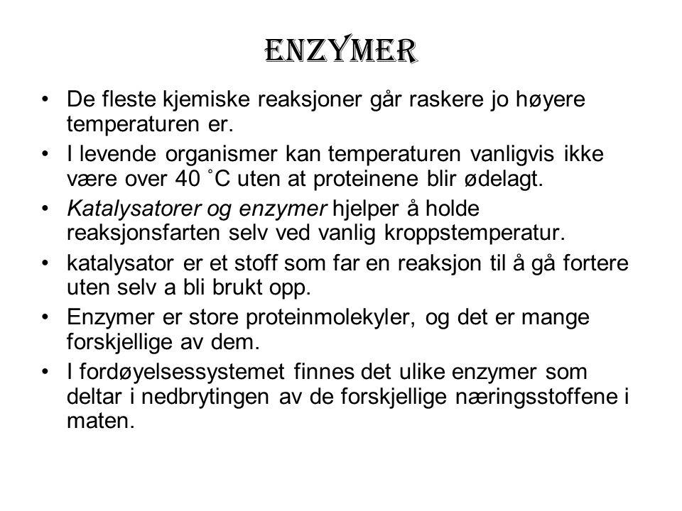 Enzymer De fleste kjemiske reaksjoner går raskere jo høyere temperaturen er.
