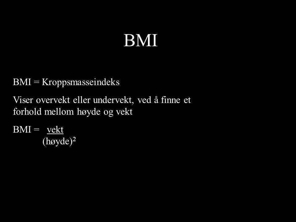 BMI BMI = Kroppsmasseindeks