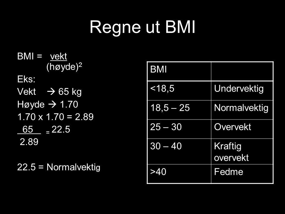 Regne ut BMI BMI = vekt (høyde)2 Eks: Vekt  65 kg Høyde  1.70