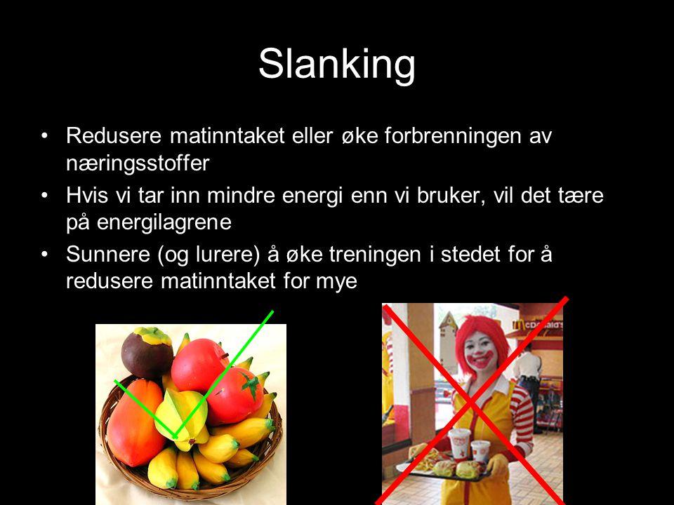 Slanking Redusere matinntaket eller øke forbrenningen av næringsstoffer. Hvis vi tar inn mindre energi enn vi bruker, vil det tære på energilagrene.